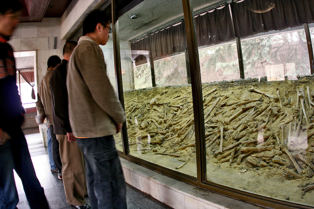 human remains on display in Nanking China at a memorial museum to the victims of the Japanese during World War Two