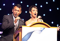 (CH) Masters of Ceremony, Craig Stevens and Belkys Nerey, speeches at the Hispanic Unity.of Florida's 30th Anniversary Gala and fundraiser Noche De Estrellas, on Saturday, September 22, 2012, at the Westin Diplomat Resort & Spa in Hollywood.. Staff photo/Cristobal Herrera