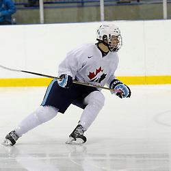 OAKVILLE, ON - Oct 28 : 2013 World Junior A Challenge / Defi Modial Junior A 2013. Jake Evans #9 of Team Canada East, Team White / d'Équipe Canada Est, l'équipe Blanc.<br /> (Photo by Tim Bates / OJHL Images)