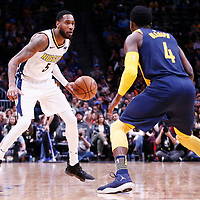 03 April 2018: Denver Nuggets forward Will Barton (5) faces Indiana Pacers guard Victor Oladipo (4)nduring the Denver Nuggets 107-104 victory over the Indiana Pacers, at the Pepsi Center, Denver, Colorado, USA.