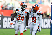 Touchdown, Cleveland Browns Runningback Isaiah Crowell (34) runs in for a touchdown during the International Series match between Cleveland Browns and Minnesota Vikings at Twickenham, Richmond, United Kingdom on 29 October 2017. Photo by Jason Brown.