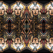 Computer abstract of altered and enhancement of  large tattoo with face in the middle with birds and ram  as digital computer art.<br /> <br /> Two or more layers were used to enhance, alter, manipulate the image, creating an abstract surrealistic mirrored symmetry.