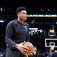 01 April 2018: Milwaukee Bucks forward Giannis Antetokounmpo (34) warms up prior to the Denver Nuggets 128-125 victory over the Milwaukee Bucks, at the Pepsi Center, Denver, Colorado, USA.