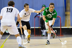 Ales Molk of FBK Olimpija vs Janne Nousiainen of Downtown Tigers during match for fifth place between Downtown Tigers (FIN) and FBK Olimpija (SLO)  in Floorball Slo Open 2012, on August 26, 2012 in Ljubljana, Slovenia.  (Photo by Matic Klansek Velej / Sportida.com)