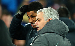 Manchester United manager Jose Mourinho chats with Marcus Rashford of Manchester United - Mandatory by-line: Robbie Stephenson/JMP - 01/01/2018 - FOOTBALL - Goodison Park - Liverpool, England - Everton v Manchester United - Premier League