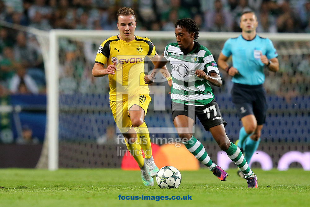Gelson Martins of Sporting Clube de Portugal and Mario Goetze of Borussia Dortmund during the UEFA Champions League match at Est&Atilde;&iexcl;dio Jos&Atilde;&copy; Alvalade, Lisbon<br /> Picture by EXPA Pictures/Focus Images Ltd 07814482222<br /> 18/10/2016<br /> *** UK &amp; IRELAND ONLY ***<br /> EXPA-EIB-161018-0062.jpg