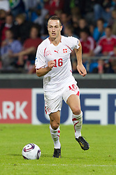 AALBORG, DENMARK - Saturday, June 11, 2011: Switzerland's Francois Affolter (BSC Young Boys) in action against Denmark during the UEFA Under-21 Championship Denmark 2011 Group A match at the Aalborg Stadion. (Photo by Vegard Grott/Propaganda)