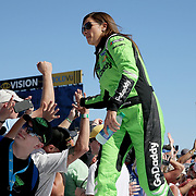 Danica Patrick, driver of the (7) GoDaddy Chevrolet in seen during driver introductions for the 60th Annual NASCAR Daytona 500 auto race at Daytona International Speedway on Sunday, February 18, 2018 in Daytona Beach, Florida. This would be Patrick's last NASCAR race. (Alex Menendez via AP)