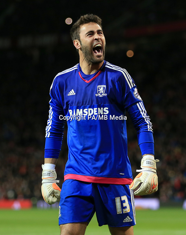Middlesbrough goalkeeper Tomas Mejias celebrates after saving the penalty from Manchester United's Wayne Rooney following the Capital One Cup, Fourth Round match at Old Trafford, Manchester.