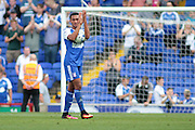 Ipswich Town midfielder Grant Ward celebrates with the match ball after the EFL Sky Bet Championship match between Ipswich Town and Barnsley at Portman Road, Ipswich, England on 6 August 2016. Photo by Nigel Cole.