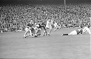 A group of players tackle each other for the ball in the Galway goalmouth during the All Ireland Senior Gaelic Football Championship Final Cork v Galway in Croke Park on the 23rd September 1973. Cork 3-17 Galway 2-13.