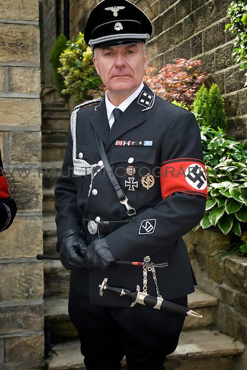Man wearing Nazi uniform as part of Haworth 1940's weekend.
