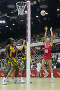 England Women GS Helen Housby shooting during the Netball World Cup 2019 Preparation match between England Women and Uganda at Copper Box Arena, Queen Elizabeth Olympic Park, United Kingdom on 30 November 2018.
