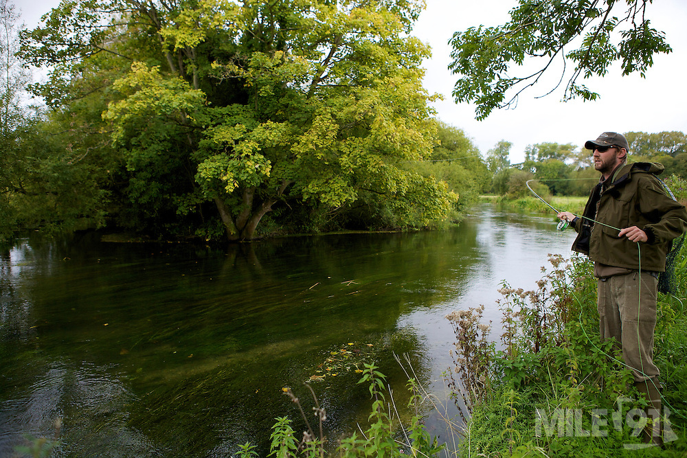 Fly fishing on a chalk stream with professional fly fishing guide Nik Lawrence.