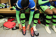 Forest Green Rovers Omar Bugiel(11) rainbow laces during the EFL Sky Bet League 2 match between Forest Green Rovers and Cheltenham Town at the New Lawn, Forest Green, United Kingdom on 25 November 2017. Photo by Shane Healey.