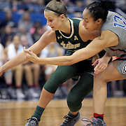 HARTFORD, CONNECTICUT- JANUARY 10: Kitija Laksa #33 of the South Florida Bulls is challenged by Saniya Chong #12 of the Connecticut Huskies during the the UConn Huskies Vs USF Bulls, NCAA Women's Basketball game on January 10th, 2017 at the XL Center, Hartford, Connecticut. (Photo by Tim Clayton/Corbis via Getty Images)