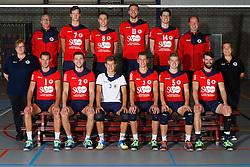 20160915 NED: Selectie SV Land Taurus 2016 - 2017, Houten<br />Bovenste rij: (L-R) Vincent Henskens (assistant coach), Dylan Boerefijn (7), Hans van Westrienen (8) Jelle van Jaarsveld (11) en Thijs Bouman (14) Erik Gras (hoofdcoach) <br />Onderste rij (L-R)  Marian Groot Koerkamp (datavolley), Bert Sturkenboom (1), Tom van den Boogaard (2), Mats Bleeker (4), Martijn de Haan (3), Flor Polinder (5). Jorad de Vries (6), Josien Leurdijk (teammanager)<br />©2016-FotoHoogendoorn.nl / Pim Waslander