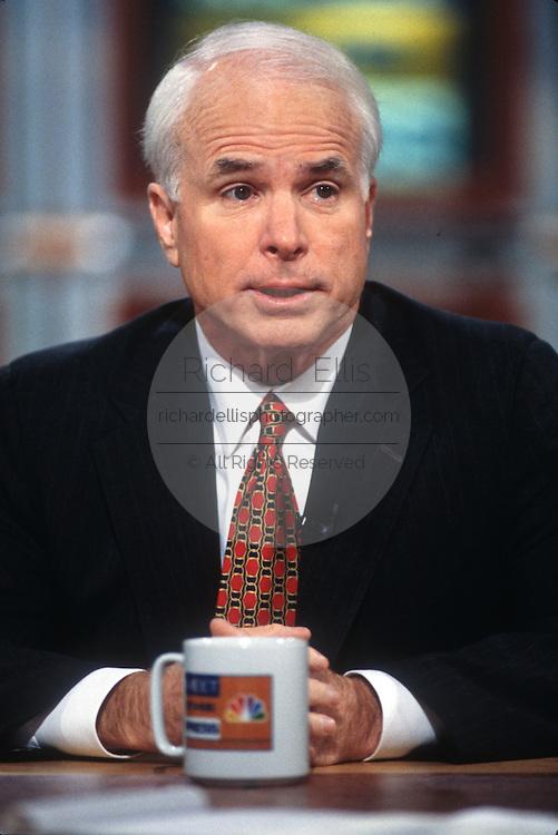 "WASHINGTON, DC - September 21: Senator John McCain on ""Meet The Press"" in Washington, DC. September 21, 1997  (Photo RIchard Ellis)"