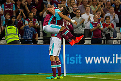 Sofiane Feghouli of West Ham and Andy Carroll of West Ham celebrating goal during 2nd Leg football match between West Ham United FC and NK Domzale in 3rd Qualifying Round of UEFA Europa league 2016/17 Qualifications, on August 4, 2016 in London, England.  Photo by Ziga Zupan / Sportida