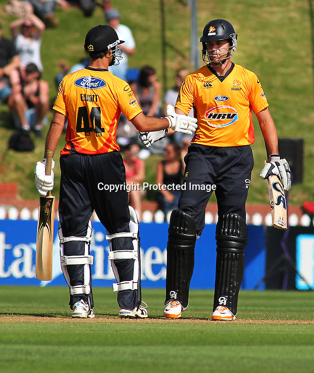 James Franklin is congratulated on his half century during their Twenty20 Cricket match - HRV Cup, Wellington Firebirds v Auckland Aces, 28 December 2011, Hawkins Basin Reserve, Wellington. . PHOTO: Grant Down / photosport.co.nz