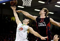 Sani Becirovic (7) of Olimpija vs Tiago Splitter of Tau at Group C of Euroleague basketball match between KK Union Olimpija, Slovenia and Caja Laboral, Spain, on November 5, 2009, in Arena Tivoli, Ljubljana, Slovenia.  (Photo by Vid Ponikvar / Sportida)