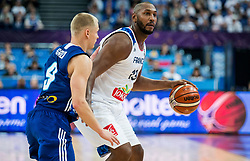 Sasu Salin of Finland vs Boris Diaw of France during basketball match between National Teams of France and Finland at Day 1 of the FIBA EuroBasket 2017 at Hartwall Arena in Helsinki, Finland on August 31, 2017. Photo by Vid Ponikvar / Sportida
