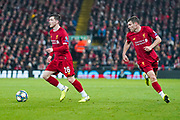 Liverpool defender Andrew Robertson (26) and Liverpool midfielder James Milner (7) in action during the Champions League match between Liverpool and Napoli at Anfield, Liverpool, England on 27 November 2019.