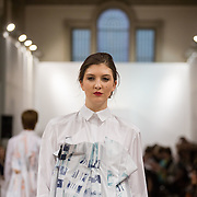 13.05.2016.           <br /> A model showcases designs by Liadan Scott Keogh titled 'Civil Contingency'  at the much anticipated Limerick School of Art & Design, LIT, (LSAD) Graduate Fashion Show on Thursday 12th May 2016. The show took place at the LSAD Gallery where 27 graduates from the largest fashion degree programme in Ireland showcased their creations. Ranked among the world's top 50 fashion colleges, Limerick School of Art and Design is continuing to mold future Irish designers.. Picture: Alan Place/Fusionshooters