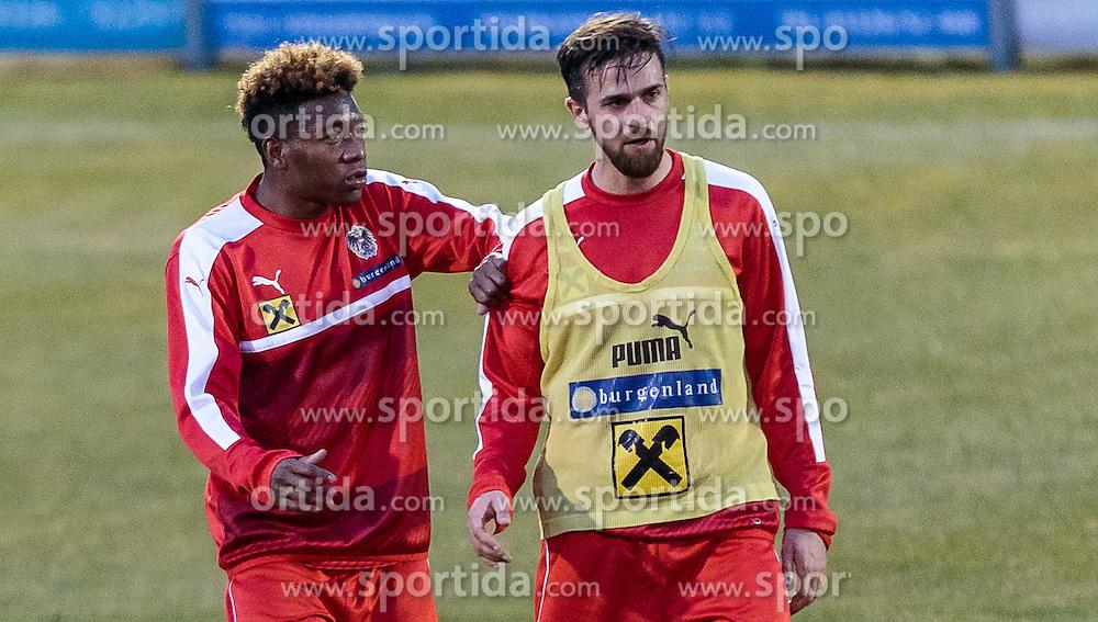 22.03.2016, Sportzentrum, Stegersbach, AUT, OeFB Training, im Bild v.l.: David Alaba (AUT), Martin Harnik (AUT) // f.l: David Alaba (AUT), Martin Harnik (AUT) during a Trainingssession of Austrian National Footballteam at the Sportcenter in Stegersbach, Austria on 2016/03/22. EXPA Pictures © 2016, PhotoCredit: EXPA/ JFK