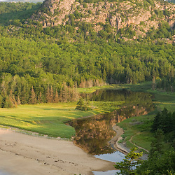 "Sand Beach and ""the Beehive"" in Maine's Acadia National Park."