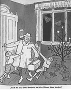 Bernhard Heinrich Karl Martin von Bulow (1849-1929) German Foreign Secretary 1897-1909. Responsible for Weltpolitik - colonial expansion. Reichschancellor 1900-1909. 'Stay with us, Uncle Berhnard, ...' cartoon from 'Simplicissimus' 23 December 1907.