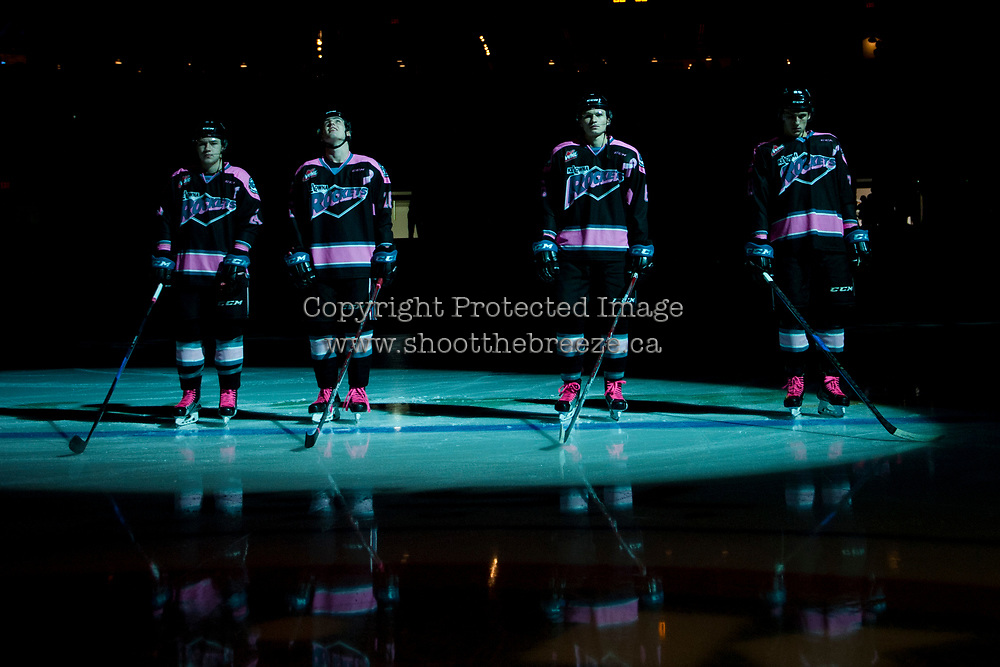 KELOWNA, CANADA - OCTOBER 21: Kyle Topping #24, Kole Lind #16, Kaedan Korczak #6, and Nolan Foote #29 of the Kelowna Rockets line up against the Portland Winterhawks on October 21, 2017 at Prospera Place in Kelowna, British Columbia, Canada.  (Photo by Marissa Baecker/Shoot the Breeze)  *** Local Caption ***