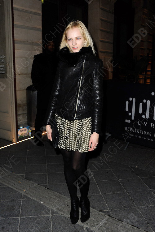03.MARCH.2013. PARIS<br /> <br /> GINTA LAPINA ATTENDS THE DIESEL PARTY HELD IN THE GAITE LYRIQUE AS PART OF THE FALL-WINTER 2013/2014 READY-TO-WEAR FASHION WEEK IN PARIS.<br /> <br /> BYLINE: EDBIMAGEARCHIVE.CO.UK<br /> <br /> *THIS IMAGE IS STRICTLY FOR UK NEWSPAPERS AND MAGAZINES ONLY*<br /> *FOR WORLD WIDE SALES AND WEB USE PLEASE CONTACT EDBIMAGEARCHIVE - 0208 954 5968*