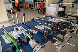 October 12, 2018 - Jakarta, Jakarta, Indonesia - Jakarta, Indonesia, 12 October 2018 : Riffles were prepared for the 50M Rifle 3 position. Para Asian Games shooting competition at Gelora Bung Karno sports center-Jakarta. (Credit Image: © Donal Husni/ZUMA Wire)