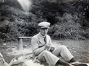 young adult man during a picnic England 1930s