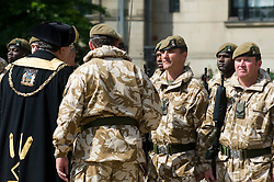 Councillor Alan Law JP, the Lord Mayor of Sheffield inspects SGT. STEWART KITRIDGE Freedom Parade 3rd Battalion The Yorkshire Regiment Sheffield 23 June 2010 .Images © Paul David Drabble.