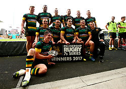 Northampton Saints celebrate with the Premiership Rugby 7s Bowl Trophy after beating Leicester Tigers in the Final - Mandatory by-line: Robbie Stephenson/JMP - 29/07/2017 - RUGBY - Franklin's Gardens - Northampton, England - Northampton Saints v Leicester Tigers - Singha Premiership Rugby 7s