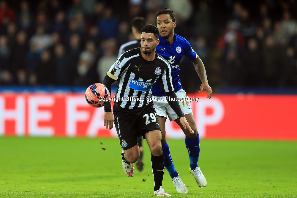 3 January 2015 - The FA Cup 3rd Round - Leicester City v Newcastle United - Emmanuel Riviere of Newcastle United in action with Liam Moore of Leicester City - Photo: Marc Atkins / Offside.