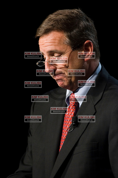 Mark Hurd, President and CEO of Hewlett Packard, is resigning from the company following a sexual-harassment probe that found other violations of company standards.  Hurd is pictured here during a  Sept. 22, 2006 press conference  in Palo Alto, Calif.