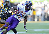 September 15 2012: Iowa Hawkeyes defensive back B.J. Lowery (19) grabs Northern Iowa Panthers running back David Johnson (7) after a catch during the second half of the NCAA football game between the Northern Iowa Panthers and the Iowa Hawkeyes at Kinnick Stadium in Iowa City, Iowa on Saturday September 15, 2012. Iowa defeated Northern Iowa 27-16.