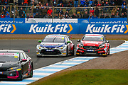 Adam MORGAN Mac Tools with Ciceley Motorsport gets pushed wide on the exit of the hairpin by Tom INGRAM Team Toyota GB with Ginsters during the Kwikfit British Touring Car Championship at Knockhill Racing Circuit, Dunfermline, Scotland on 15 September 2019.