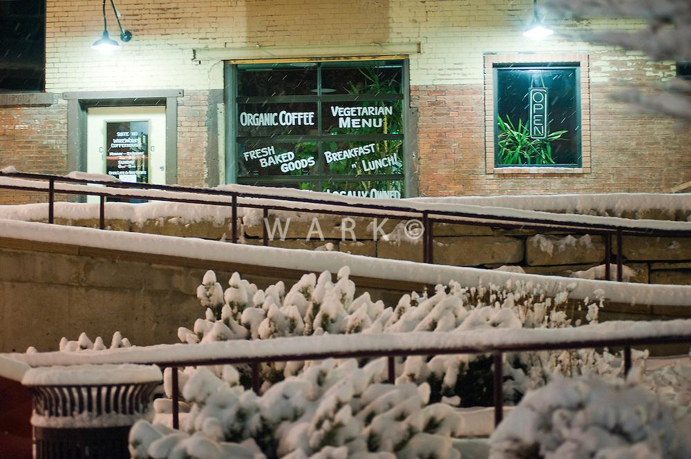 Wireworks Coffee House on Pueblo's Riverwalk on snowy night