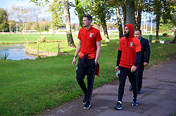 CARDIFF, WALES - Monday, October 9, 2017: Wales players during a pre-match walk at the Vale Resort ahead of the 2018 FIFA World Cup Qualifying Group D match between Wales and Republic of Ireland. Goalkeeper Wayne Hennessey and Joe Ledley. (Pic by David Rawcliffe/Propaganda)