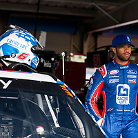 May 05, 2017 - Talladega, Alabama, USA: Darrell Wallace Jr (6) hangs out in the garage during practice for the Spark Energy 300 at Talladega Superspeedway in Talladega, Alabama.