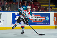 KELOWNA, CANADA - JANUARY 3: James Hilsendager #2 of the Kelowna Rockets passes the puck against the Tri-City Americans on January 3, 2017 at Prospera Place in Kelowna, British Columbia, Canada.  (Photo by Marissa Baecker/Shoot the Breeze)  *** Local Caption ***