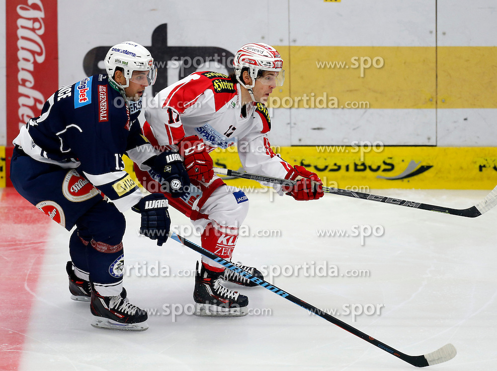 11.10.2015, Stadthalle, Villach, AUT, EBEL, EC VSV vs EC KAC, 10. Runde, im Bild Ziga Pance (VSV) und Manuel Ganahl (KAC) // during the Erste Bank Icehockey League 10th round match between EC VSV vs EC KAC at the City Hall in Villach, Austria on 2015/10/11, EXPA Pictures © 2015, PhotoCredit: EXPA/ Oskar Hoeher