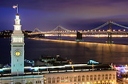 A night time scene of the Embarcadero In San Francisco, California