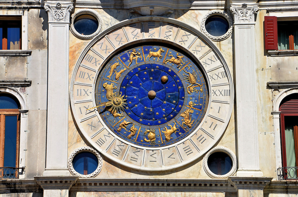 St. Mark&rsquo;s Clock Tower Clock in Venice, Italy <br /> The astronomical clock in St. Mark&rsquo;s Clock Tower is a stunning, artistic timepiece that was built at the end of the 15th century.  Inside the marble circle are twenty-four Roman numerals.  The single, gilded arm moves around these to indicate the hour of the day.  Beneath that are golden Zodiac signs that revolve to show the sun&rsquo;s position.  Inside the blue enamel center is the moon which indicates the lunar phase.