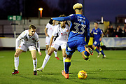 AFC Wimbledon striker Lyle Taylor (33) with a shot on goal during the EFL Sky Bet League 1 match between AFC Wimbledon and Walsall at the Cherry Red Records Stadium, Kingston, England on 25 November 2017. Photo by Matthew Redman.