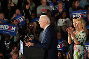 Democratic presidential candidate former Vice President Joe Biden, is applauded by supporters at his victory party after winning the South Carolina primary at the University of South Carolina February 29 2020, in Columbia, South Carolina.